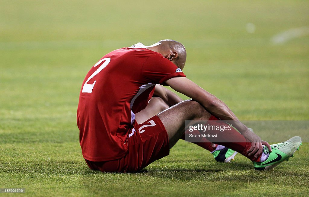 Sharif Nassar of Jordan reacts during the FIFA 2014 World Cup Qualifier: Intercontinental Play-off First Leg between Jordan and Uruguay on November 13, 2013 in Amman, Jordan.