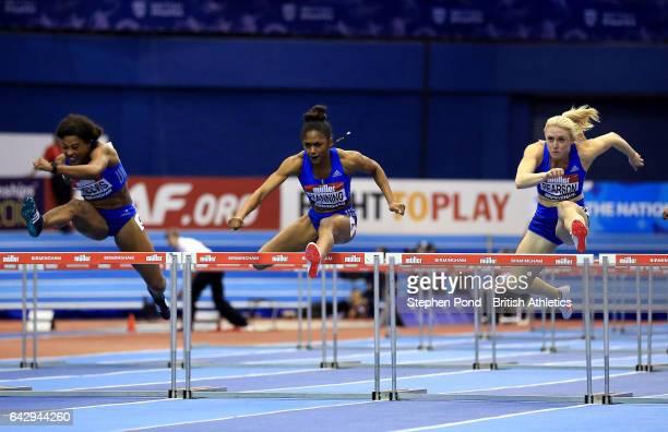 Sharika Nelvis of the United States Christina Manning of the United States and Sally Pearson of Australia compete in the Womens 60m hurdles final...