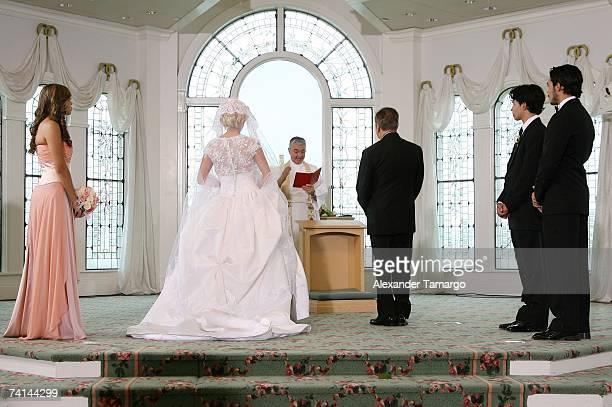Sharina Ortiz Charytin Goyco Father Roberto Rojas Elin Ortiz Alex Ortiz Shalim Ortiz are shown at the altar during Charytin Goyco's dream wedding at...