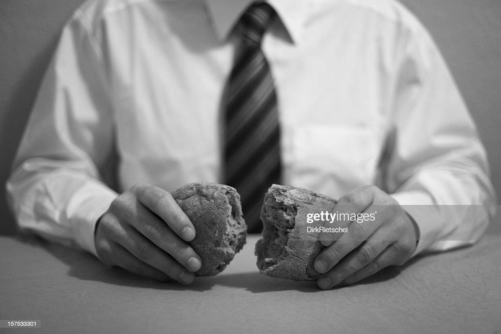 Sharing bread.