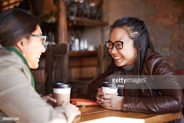 Sharing coffee and a few giggles