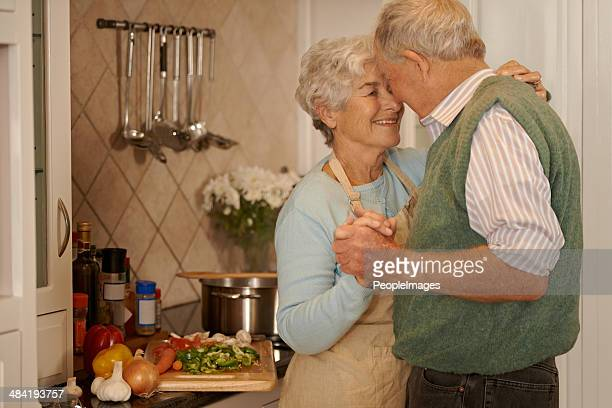 Sharing tender moments in the kitchen