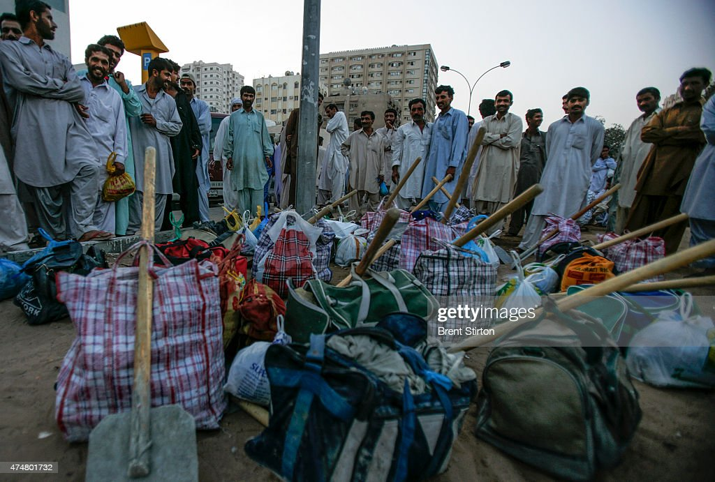 Illegal day labourers congregate at 5am in Rolla Square in Sharjah in hope of being hired for the day These workers are made up of men from India...