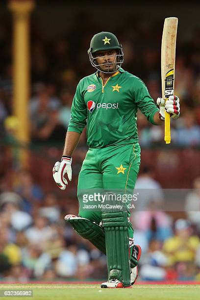 Sharjeel Khan of Pakistan acknowledges the crowd after scoring a half century during game four of the One Day International series between Australia...