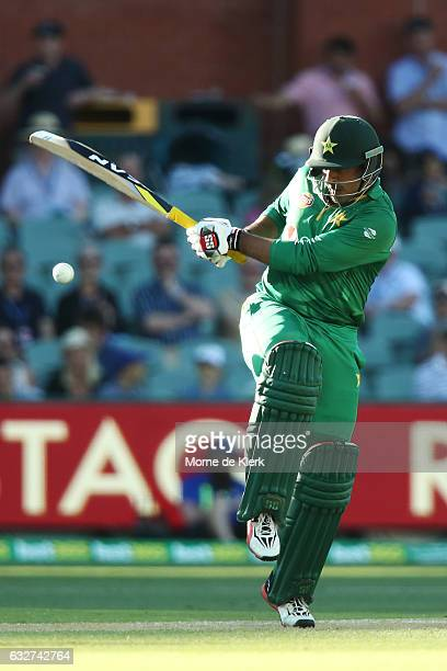 Sharjeel Khan of Pakistan bats during game five of the One Day International series between Australia and Pakistan at Adelaide Oval on January 26...