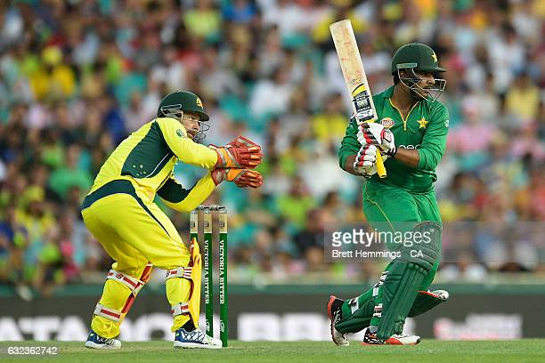 Sharjeel Khan of Pakistan bats during game four of the One Day International series between Australia and Pakistan at Sydney Cricket Ground on...