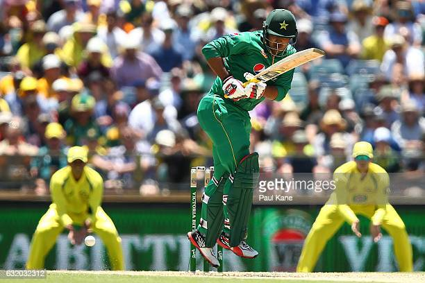 Sharjeel Khan of Pakistan bats during game three of the One Day International series between Australia and Pakistan at WACA on January 19 2017 in...