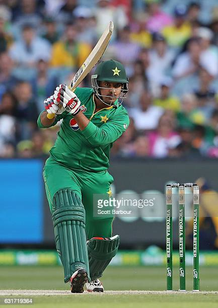 Sharjeel Khan of Pakistan bats during game two of the One Day International series between Australia and Pakistan at Melbourne Cricket Ground on...