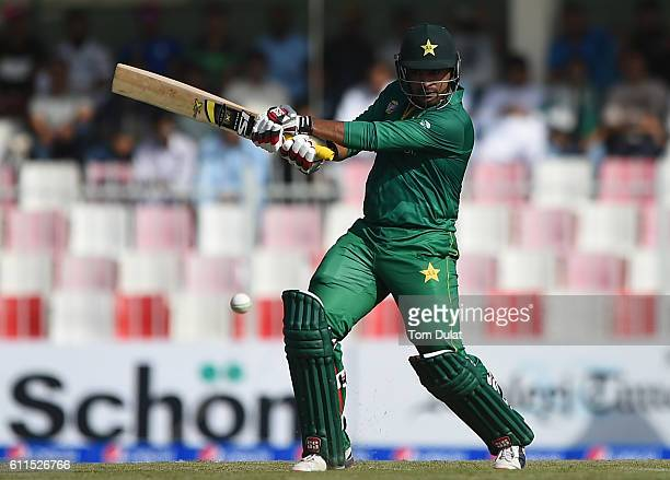 Sharjeel Khan of Pakistan bats during the first One Day International match between Pakistan and West Indies at Sharjah Cricket Stadium on September...