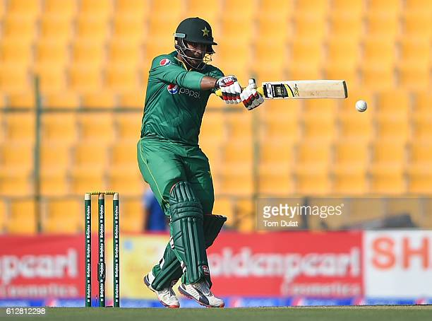 Sharjeel Khan of Pakistan bats during the third One Day International match between Pakistan and West Indies at Zayed Cricket Stadium on October 5...