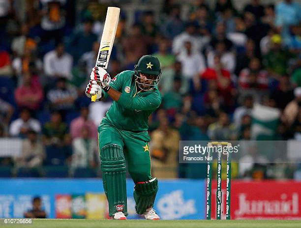 Sharjeel Khan of Pakistan bats during the third T20 International match between Pakistan and West Indies at Zayed Cricket Stadium on September 27...