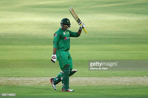 Sharjeel Khan of Pakistan celebrates after reaching 50 runs during game five of the One Day International series between Australia and Pakistan at...