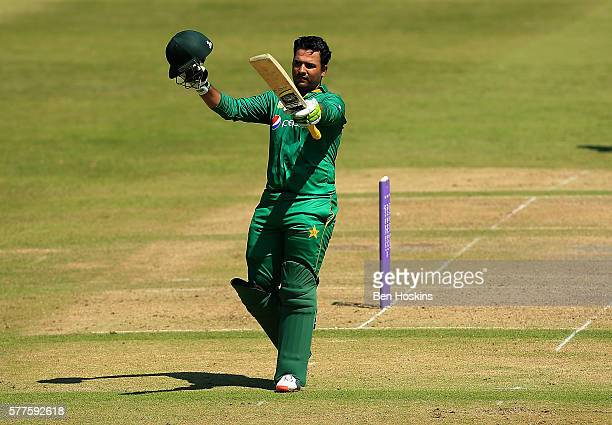 Sharjeel Khan of Pakistan celebrates reaching his century during the Triangular Series match between England Lions and Pakistan A on July 19 2016 in...