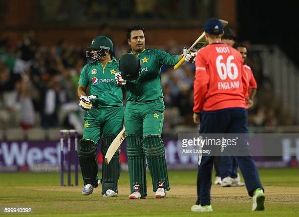 Sharjeel Khan of Pakistan celebrates reaching his half century during the NatWest International T20 match between England and Pakistan at Old...