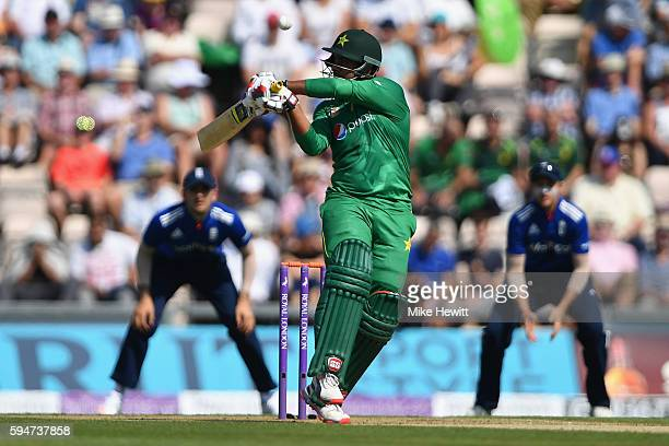 Sharjeel Khan of Pakistan edges a Mark Wood bouncer to wicketkeeper Jos Butler during the 1st One Day International between England and Pakistan at...
