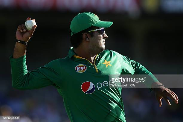 Sharjeel Khan of Pakistan fields during game three of the One Day International series between Australia and Pakistan at WACA on January 19 2017 in...