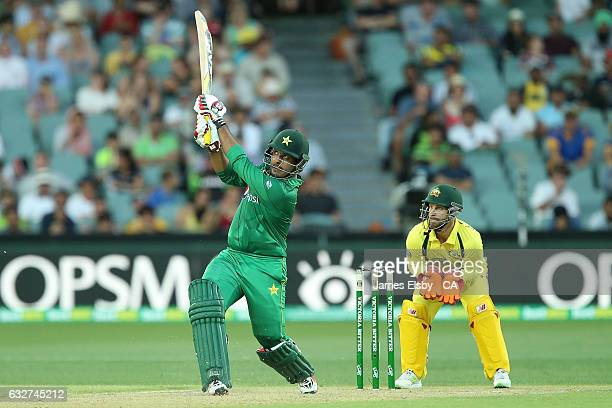 Sharjeel Khan of Pakistan hits a six during game five of the One Day International series between Australia and Pakistan at Adelaide Oval on January...