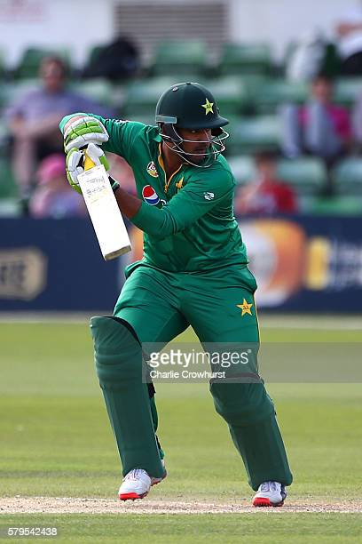Sharjeel Khan of Pakistan hits out during the Triangular Series match between England Lions and Pakistan A at The Spitfire Ground on July 24 2016 in...