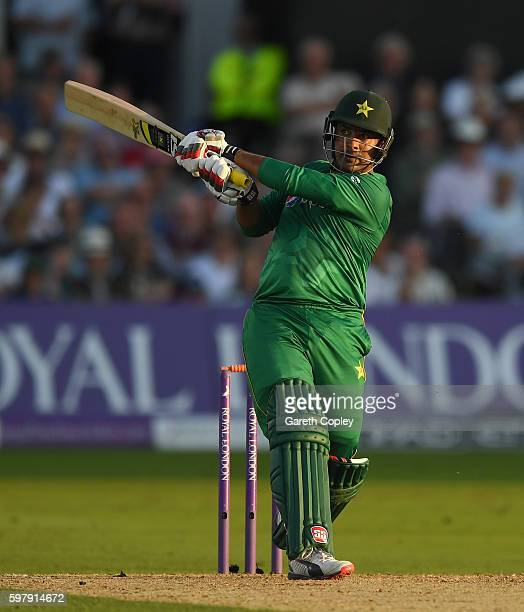 Sharjeel Khan of Pakistan hits out for six runs during the 3rd One Day International match between England and Pakistan at Trent Bridge on August 30...