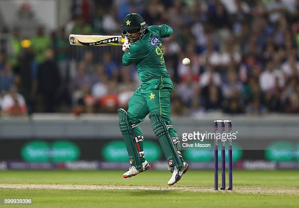 Sharjeel Khan of Pakistan in action batting during the NatWest International T20 match between England and Pakistan at Old Trafford on September 7...