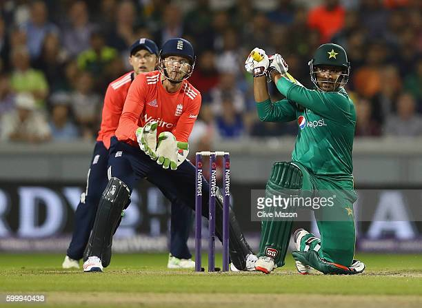 Sharjeel Khan of Pakistan in action batting on his way to a half century as Jos Buttler of England looks on during the NatWest International T20...