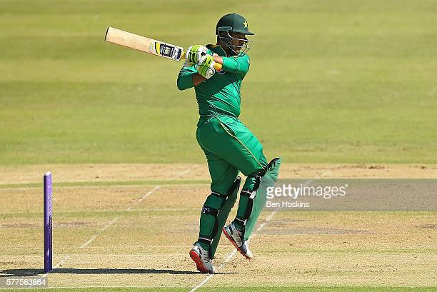 Sharjeel Khan of Pakistan in action during the Triangular Series match between England Lions and Pakistan A on July 19 2016 in Cheltenham England