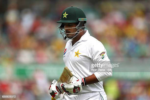Sharjeel Khan of Pakistan looks dejected after being dismissed by Josh Hazlewood of Australia during day two of the Third Test match between...