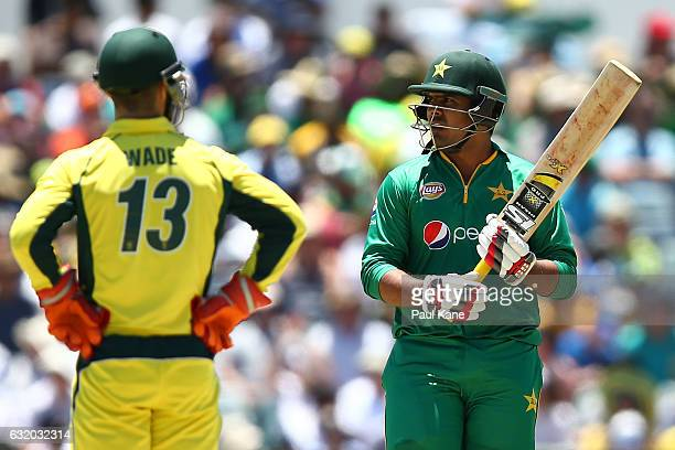 Sharjeel Khan of Pakistan looks on after scoring his half century during game three of the One Day International series between Australia and...