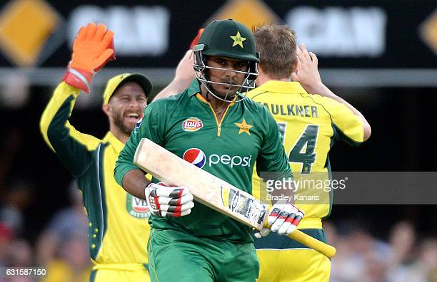 Sharjeel Khan of Pakistan loses his wicket off the bolwing of James Faulkner of Australia during game one of the One Day International series between...
