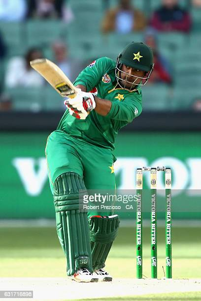 Sharjeel Khan of Pakistan plays a shot during game two of the One Day International series between Australia and Pakistan at Melbourne Cricket Ground...