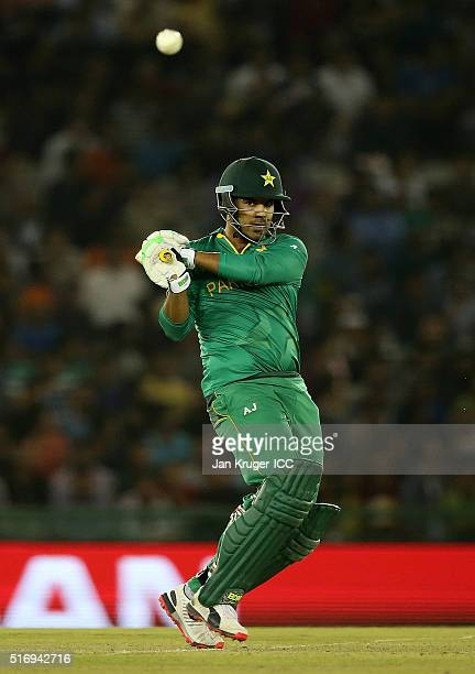 Sharjeel Khan of Pakistan pulls the ball during the ICC World Twenty20 India 2016 Super 10s Group 2 match between New Zealand and Pakistan at the IS...