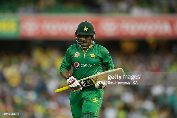 Sharjeel Khan of Pakistan walks from the field after being dismissed by Adam Zampa of Australia during game four of the One Day International series...