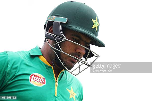 Sharjeel Khan of Pakistan walks out for the start of the tour match between Pakistan and the CA XI at Allan Border Field on January 10 2017 in...