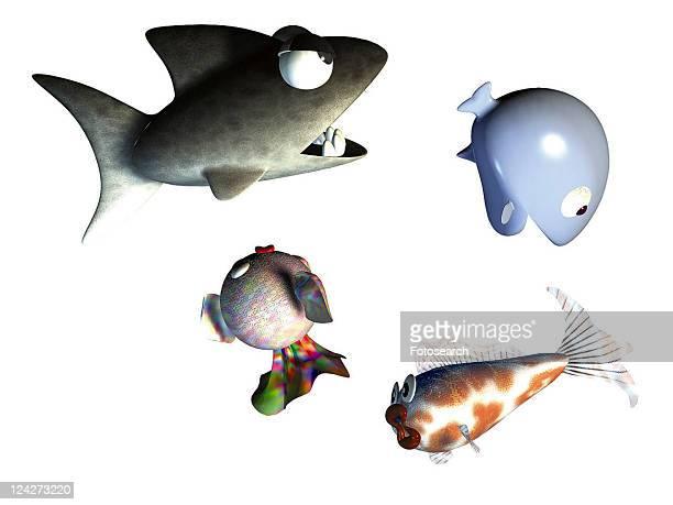 3D, shark, cartoon, cute, animal