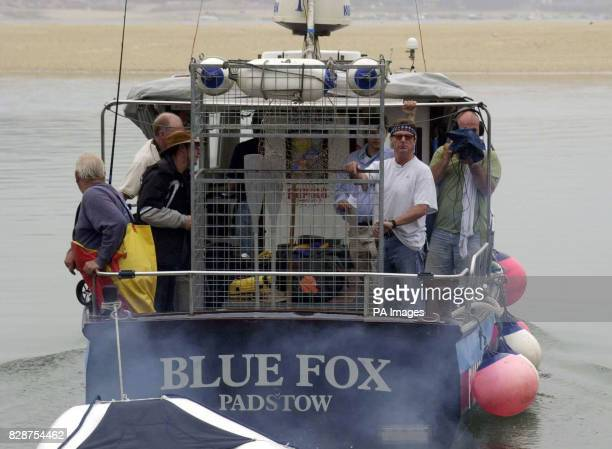 Shark conservationist Richard Peirce leaves Padstow north Cornwall aboard the vessel Blue Fox on the first leg of his 14day search to find proof of...