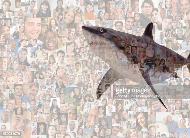 Shark over collage of business people