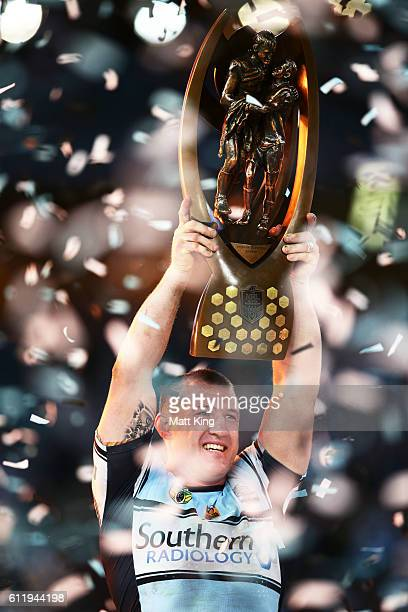 Sharks captain Paul Gallen lifts the NRL trophy after victory in the 2016 NRL Grand Final match between the Cronulla Sharks and the Melbourne Storm...