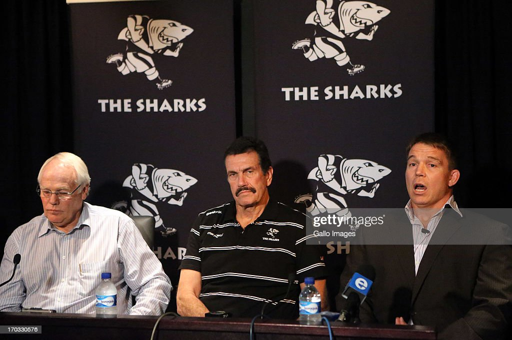 Sharks CEO, Brian van Zyl with Graham MacKenzie President KwaZulu - Natal Rugby Union and Chief executive officer John Smit during The Sharks announcement of their new CEO at Growthpoint Kings Park on June 11, 2013 in Durban, South Africa.