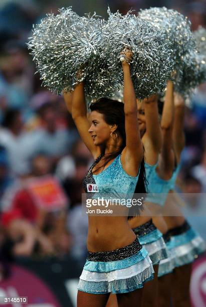 Sharks cheerleaders pump up the home crowd during the round 3 NRL match between the CronullaSutherland Sharks and the Manly Warringah Sea Eagles at...