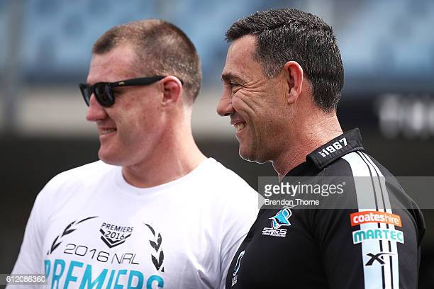 Sharks coach Shane Flanagan and Paul Gallen of the Sharks share a joke during the Cronulla Sharks NRL Grand Final celebrations at Southern Cross...