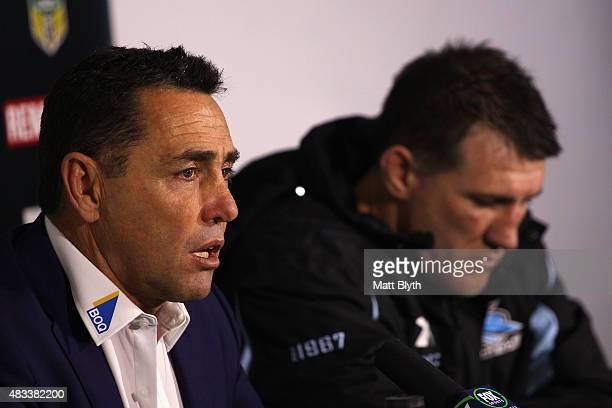 Sharks coach Shane Flanagan and Paul Gallen of the Sharks talk to the media at a press conference following the round 22 NRL match between the...