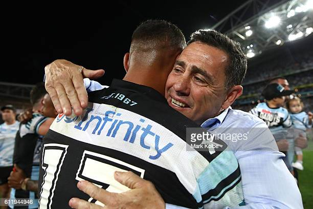Sharks coach Shane Flanagan celebrates with Jason Bukuya of the Sharks after winning the 2016 NRL Grand Final match between the Cronulla Sharks and...