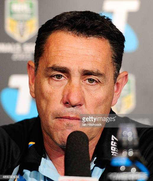 Sharks coach Shane Flanagan looks on at the post match media conference at the end of during the Second NRL Semi Final match between the North...