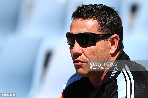 Sharks coach Shane Flanagan looks on during a Cronulla Sharks NRL training session at Southern Cross Group Stadium on September 26 2016 in Sydney...