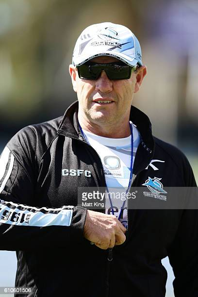 Sharks coach Shane Flanagan looks on during a Cronulla Sharks NRL training session at Southern Cross Group Stadium on September 27 2016 in Sydney...