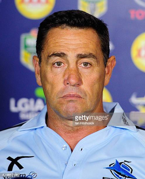 Sharks coach Shane Flanagan looks on during the post match press conference during the round one NRL match between the North Queensland Cowboys and...