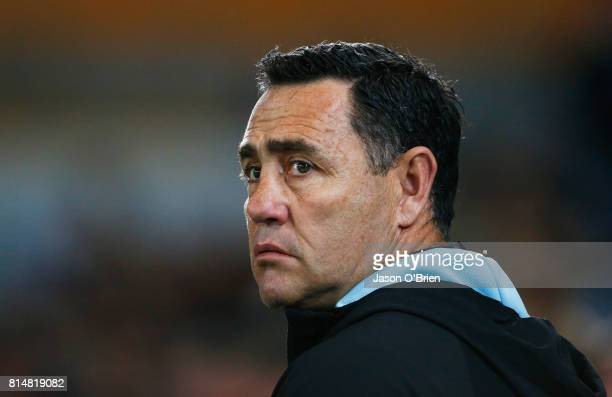 Sharks Coach Shane Flanagan looks on during the round 19 NRL match between the Gold Coast Titans and the Cronulla Sharks at Cbus Super Stadium on...