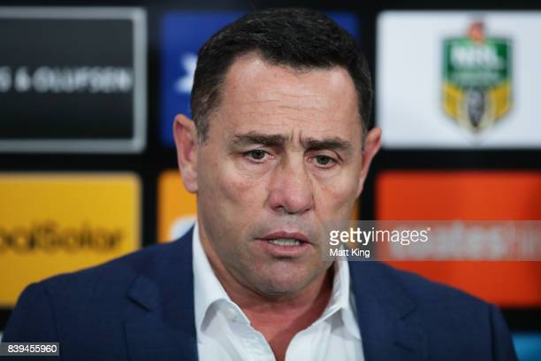 Sharks coach Shane Flanagan speaks to the media after the round 25 NRL match between the Cronulla Sharks and the Sydney Roosters at Southern Cross...