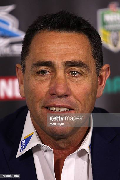 Sharks coach Shane Flanagan talks to the media at a press conference following the round 22 NRL match between the Cronulla Sharks and the North...