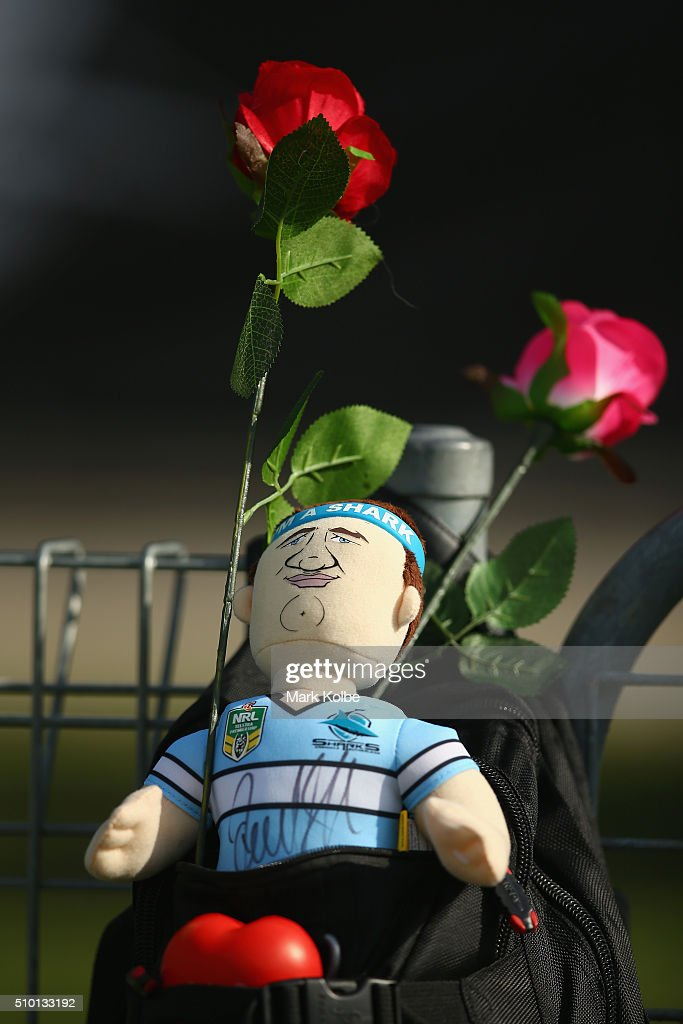 A Sharks doll with red roses is seen on Valentines Day during the NRL Trial match between the Cronulla Sharks and the Manly Sea Eagles at Remondis Stadium on February 14, 2016 in Sydney, Australia.
